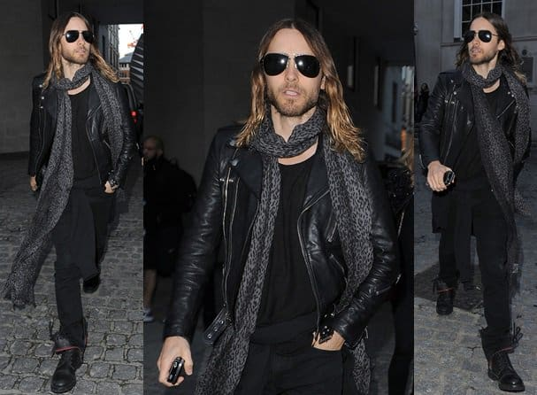jared leto leopard print scarf london fashion week spring 2014