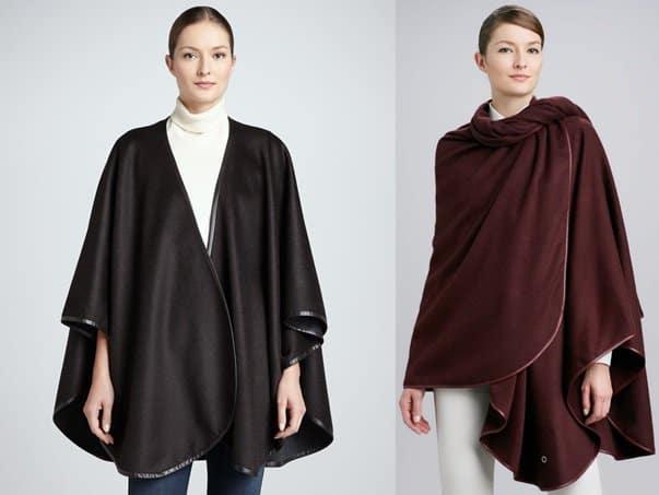 Sofia Cashmere Leather-Trimmed Cashmere Cape / Loro Piana Mantella Regina Unita Cashmere Cape