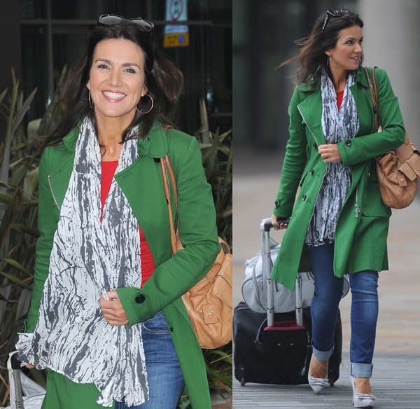 Susanna Reid exits the BBC Breakfast studios in a fall scarf after making an appearance on September 25, 2013