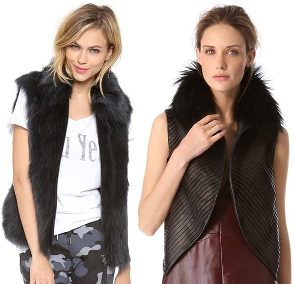 SAM. lola fur vest and j. mendel strip leather vest with fur