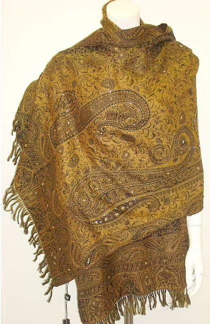 Selection Privee Paris 'Carla' Brown Paisley Sequined Wool Wrap