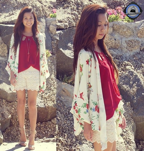 Melanie keeps it girly in floral and lace