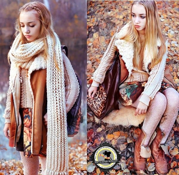 Aksinya wears a super chunky beige scarf with a gorgeous fall outfit