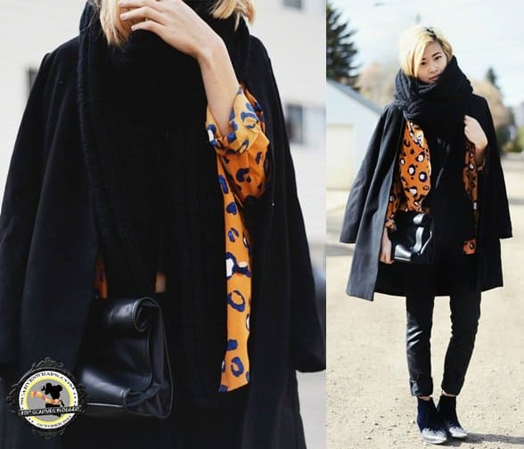 alyssa lau of ordinary people black scarf style