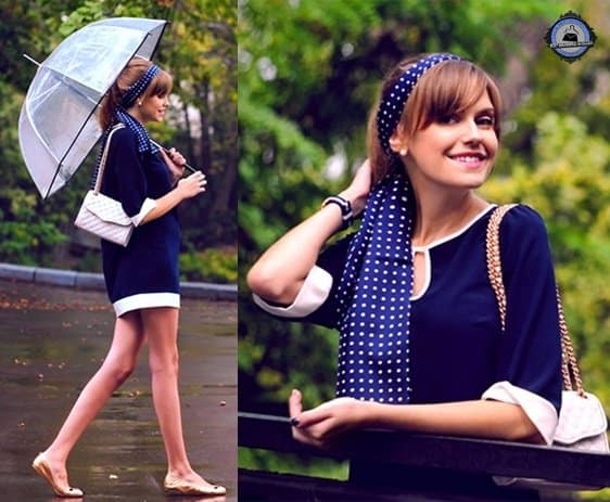 Anastasia works up a two-tone outfit and styles it with a polka-dotted head wrap in the same color