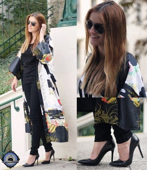 Bianca glams up a classic black outfit by donning a long kimono and pointy high heels