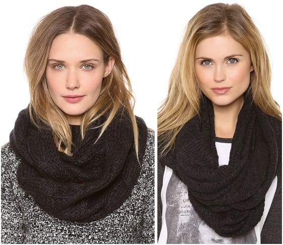 bop basics and paula bianco knitted infinity scarves