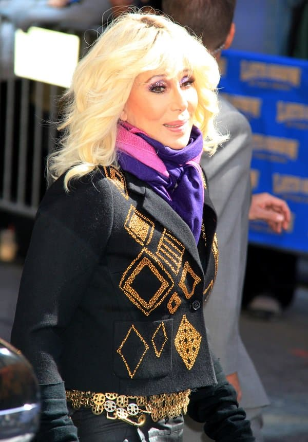 Cher arrives for the 'Late Show with David Letterman' at Ed Sullivan Theater on September 24, 2013, in New York City