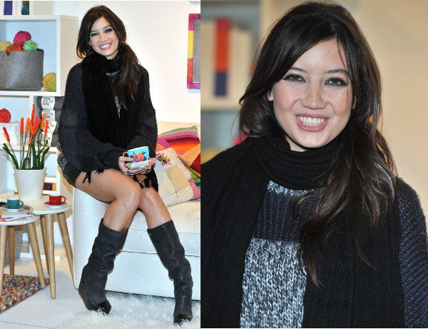 Daisy Lowe helped promote Wool Week by donning several knitted pieces to create a chic fall outfit