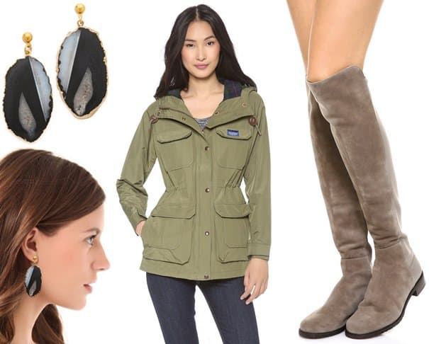 Dara Ettinger Nora Earrings and Penfield Kasson Mountain Hooded Parka and Stuart Weitzman 5050 Flat Boots