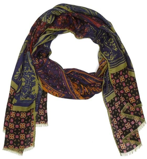 etro mixed pattern modal and cashmere scarf