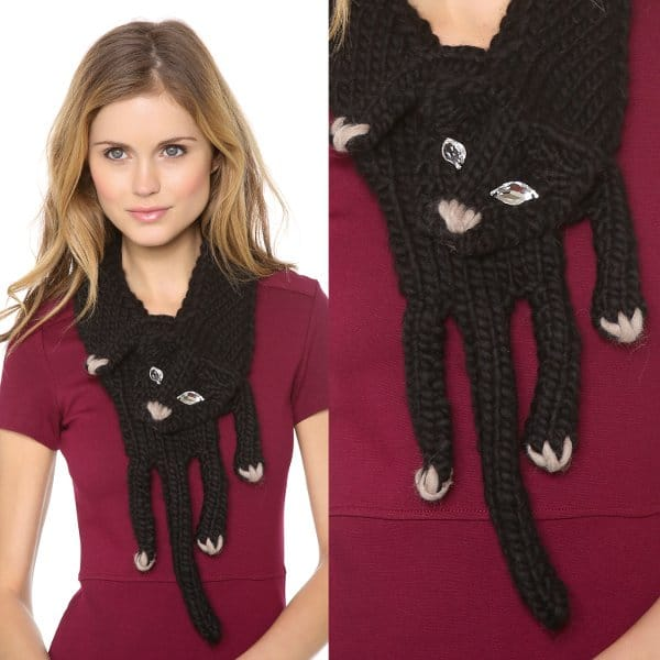 A winter accessory gets a whimsical twist when a soft wool scarf takes the shape of a cat