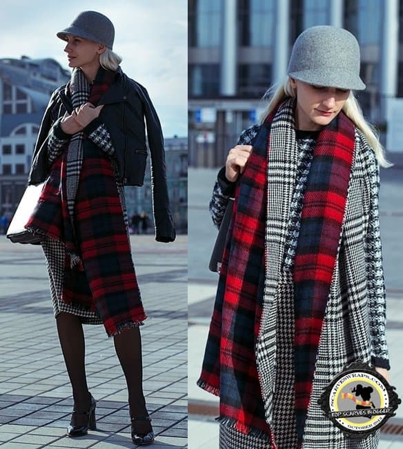 Natalie wears a tartan scarf with other Saville Row patterns