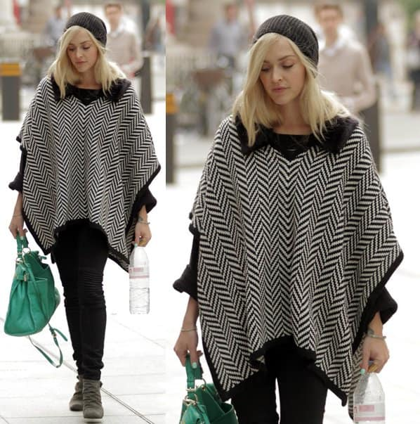 Fearne Cotton arrives at BBC Radio 1 studios while decked in a poncho on October 1, 2013