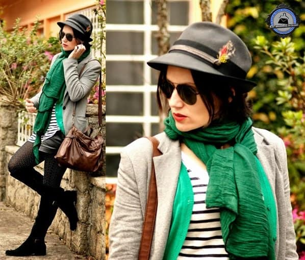 Flavia adds a pop of green to keep an achromatic outfit extra interesting