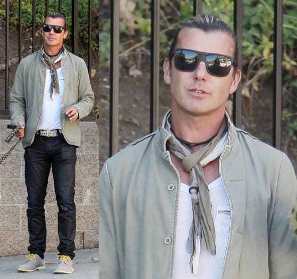 Gavin Rossdale adds a touch of extra to his look with a two-tone scarf