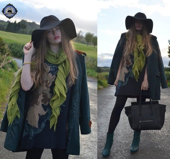 Hayley works up a palette of greens mixed with black to create a picture-perfect outfit that displays a lot of texture play