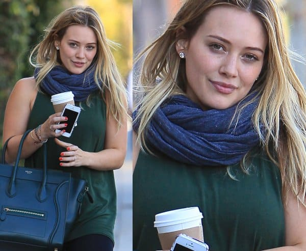 Hilary Duff matches her pine green scarf with Celine handbag