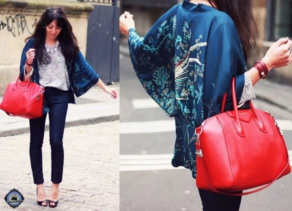 Lydia Marceau dons a printed kimono and some standout accessories to dress up a simple outfit