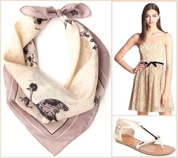 nice things modcloth fashions afoot scarf max cleo lace dress zigi sandals