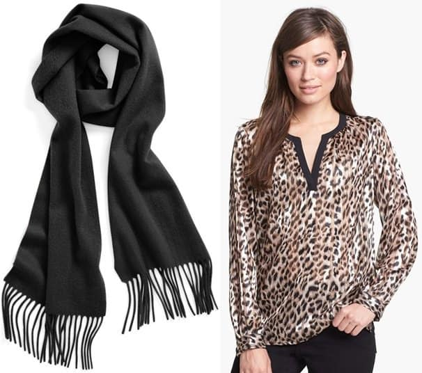 Solid Woven Cashmere Scarf and Chaus Split Front Leopard Print Blouse