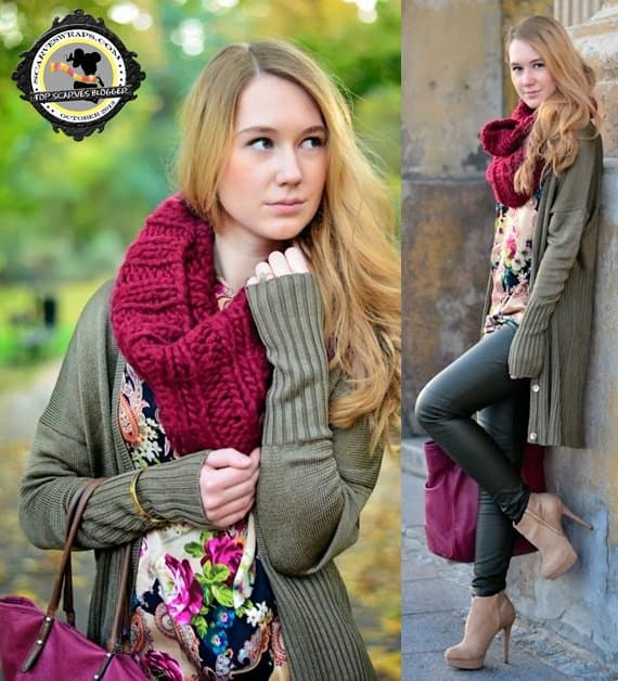 Roza styled a chunky maroon scarf with a silky floral blouse and black leather skinnies
