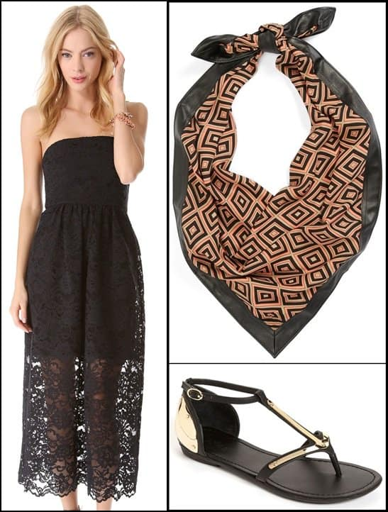 Tibi Strapless Lace Dress / Halogen Graphic Print Scarf with Faux Leather Trim / Zigi Arrow Sandals