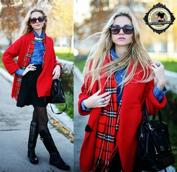 Valeriya wears a classic plaid scarf with a bright red coat