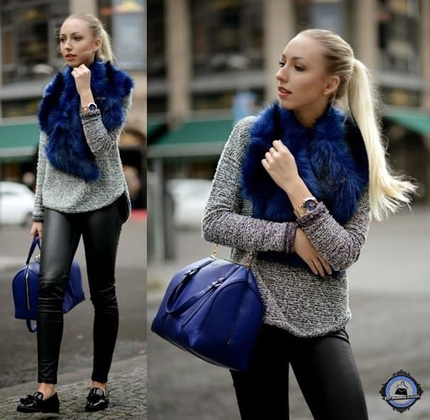 Vanessa Kandzia keeps it simple, chic, and elegant by mixing deep blue accessories with her color-less leather outfit