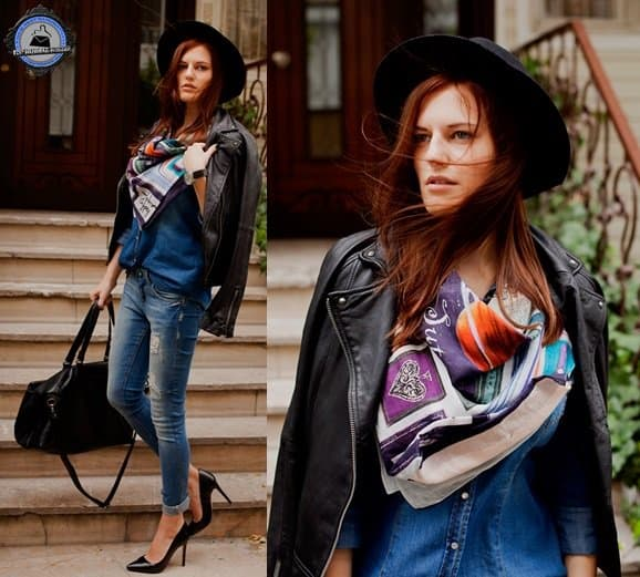 Viktoriya keeps it chic by pairing her scarf with leather and a double dose of denim