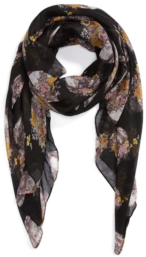 Roffe Accessories Floral Skull Print Scarf