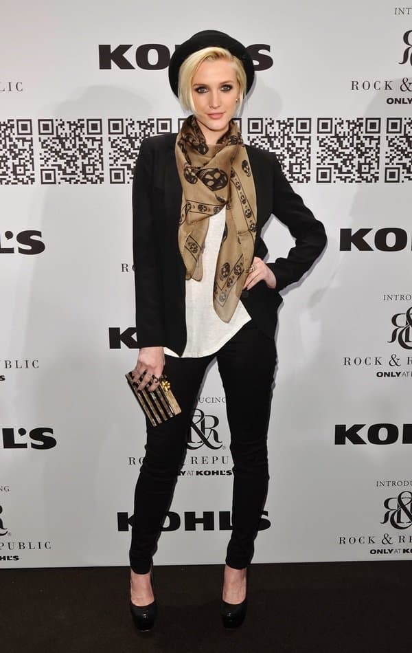 Ashlee Simpson pairs her scarf with a classic black blazer as she attends the Rock & Republic for Kohl's Fall 2012 Fashion Show