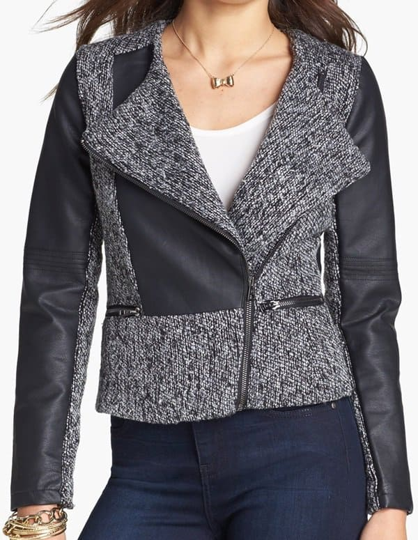 dollhouse tweed and faux leather moto jacket
