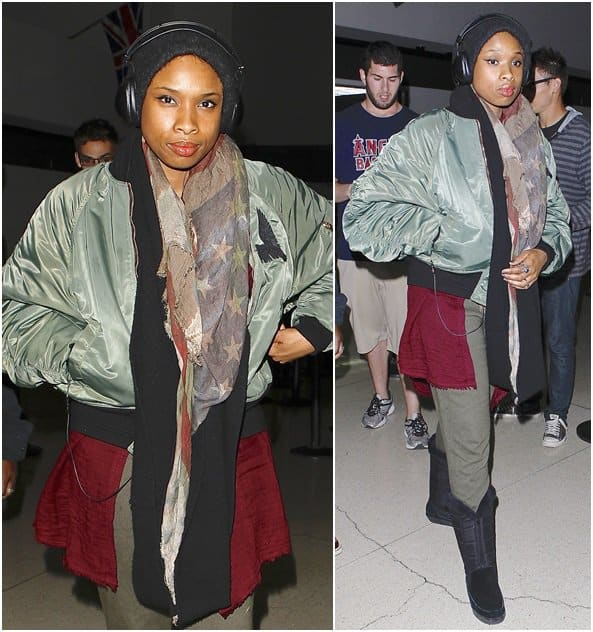 Jennifer Hudson bundles up in several layers of scarves