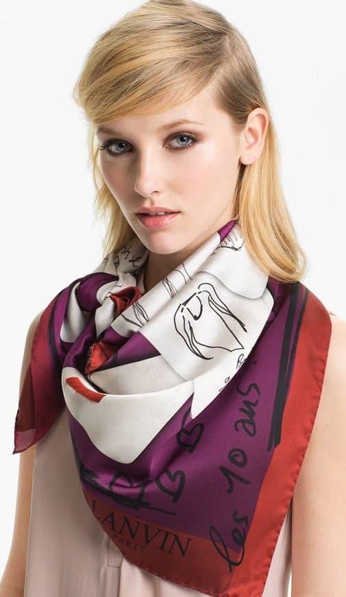 lanvin celebration square silk scarf