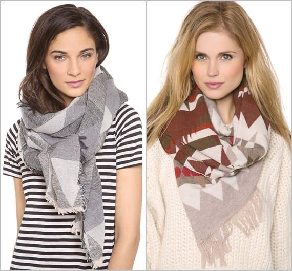 Madewell Mountain Shadow Scarf and Pendleton The Portland Collection Pattern Fringed Scarf