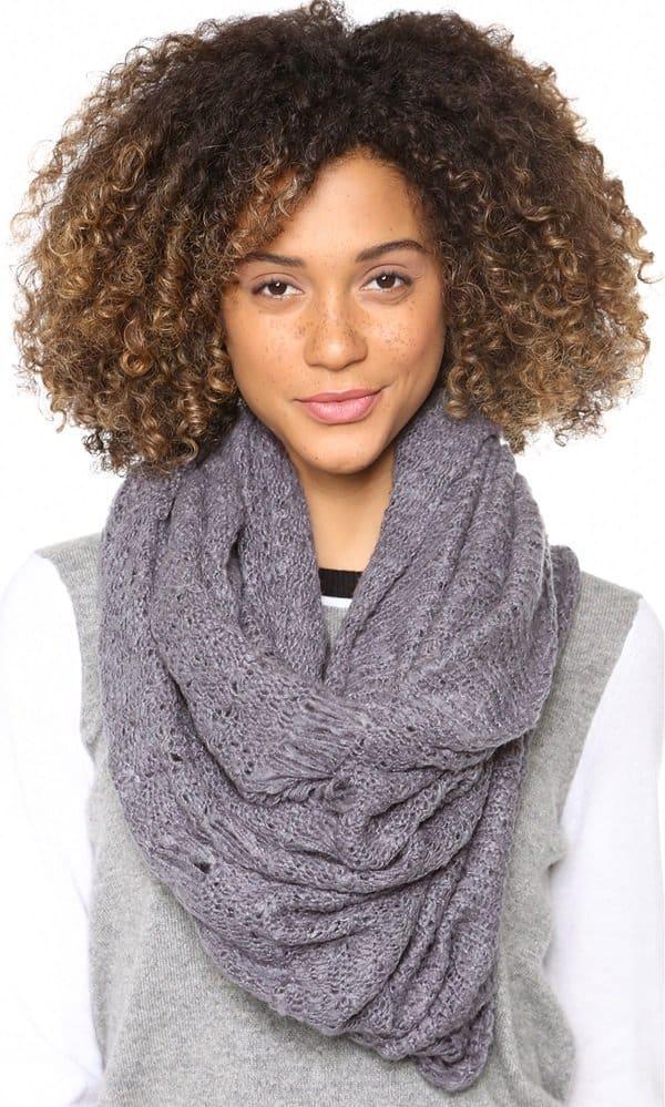 Paula Bianco Knit Wrap Scarf in Grey