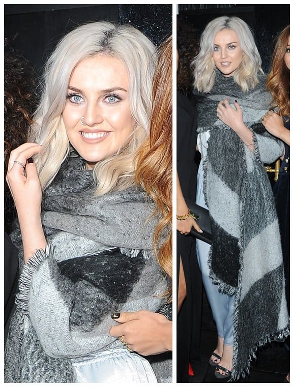 Perrie Edwards was bundled up in an oversized wrap