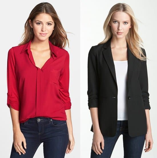 Pleione Mixed Media Blouse and Michael Kors Ruched Sleeves Boyfriend Jacket