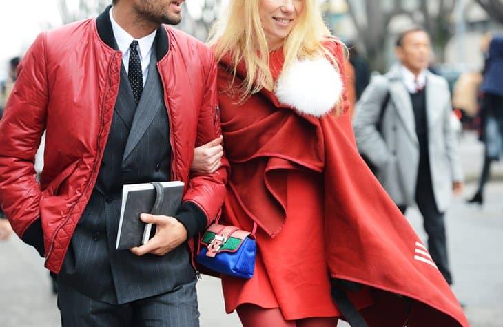 redbomberkenzo tommy ton street style milan february 8 2013 red wrap scarf