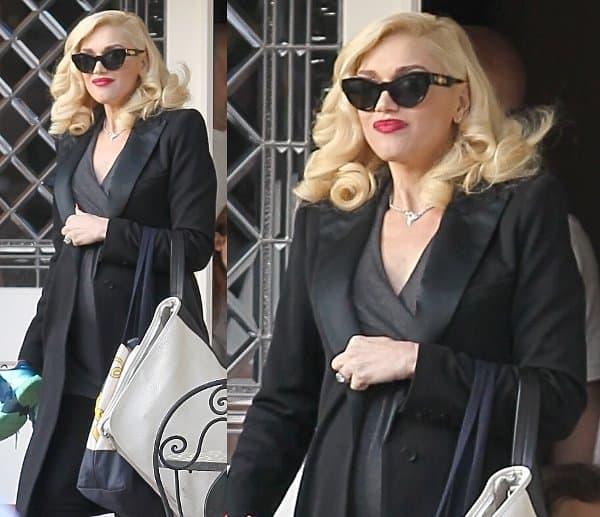 Gwen Stefani in a long tailed blazer