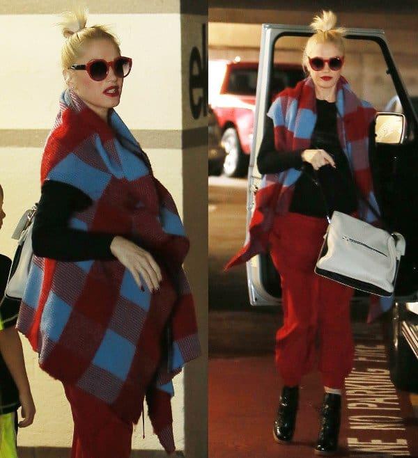 Gwen Stefani in fuzzy plaid wrap