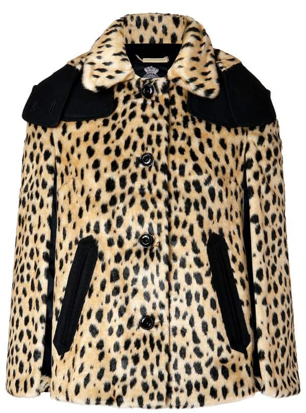 juicy couture cheetah print cape with detachable collar
