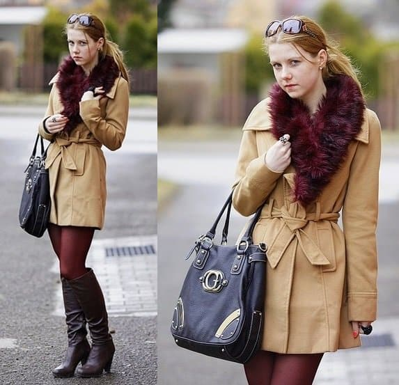 Lucy wears neutrals with her dark red leggings and matching Bordeaux-hued fur scarf