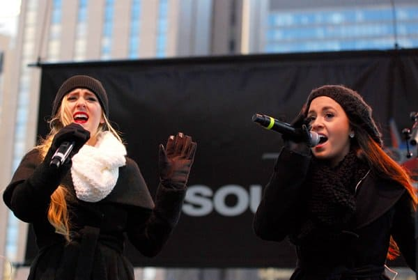 Megan and Liz perform at the Magnificent Mile Lights Festival 2013