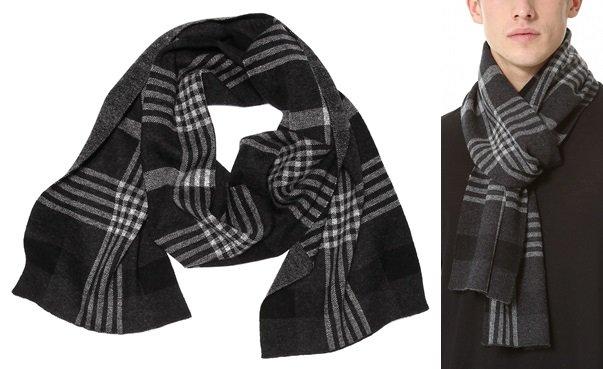 vince plaid jacquard scarf 2-horz