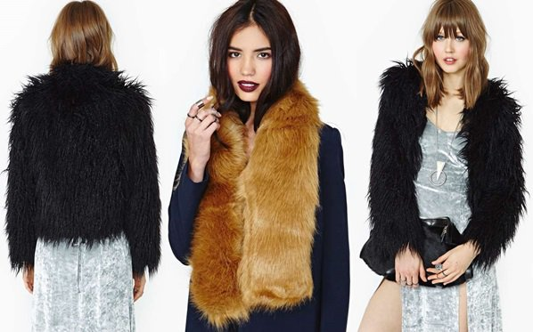 Nastygal Jacket and Hat Attack Fur scarf