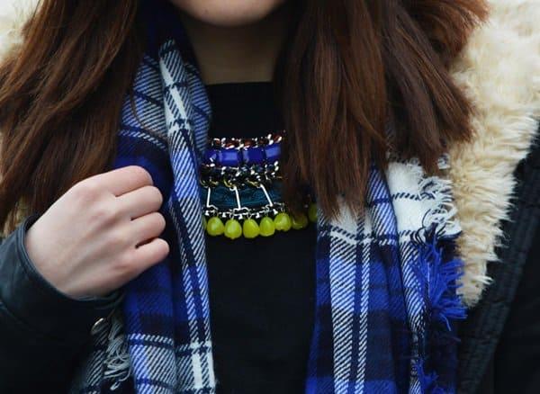blue tartan scarf celebrities and fashion hanna blog style 2