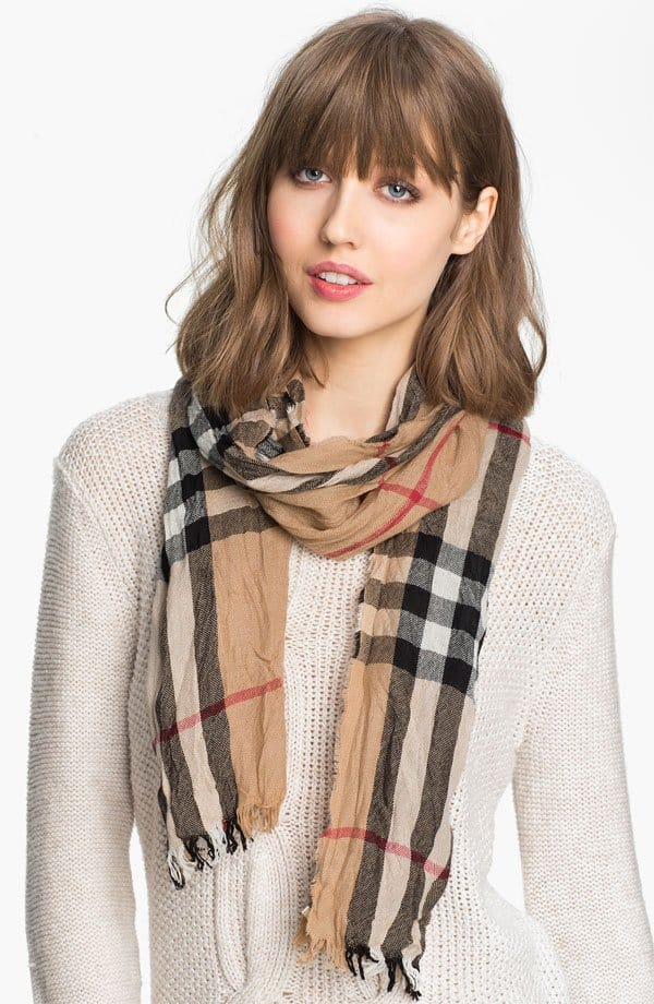 burberry check scarf crinkled wool cashmere