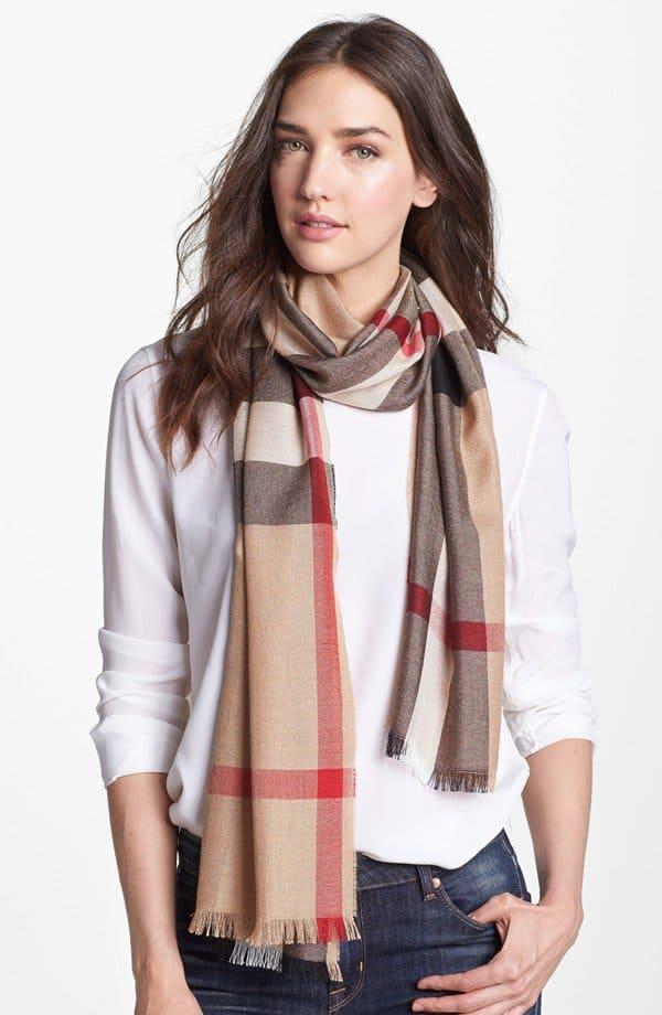burberry check scarf silk cashmere